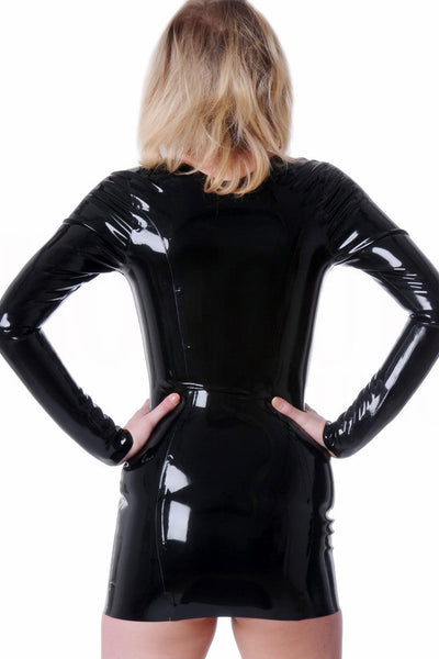 Black Latex Lowcut Starlight Dress