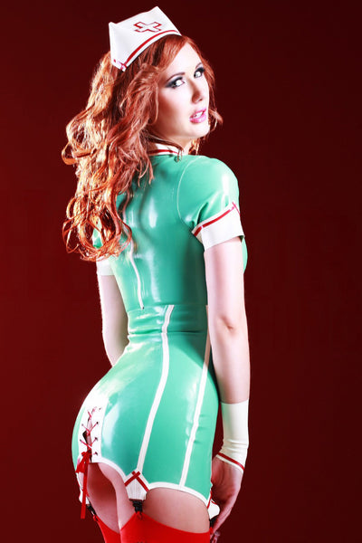 Latex Nurse Fantasy Dress & Cap