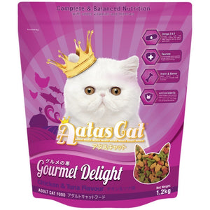 Aatas Cat Gourmet Delight Chicken & Tuna Flavour Dry Cat Food, 1.2kg.Happy Hoomans