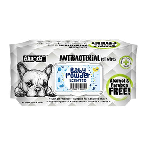 Absorb Plus Antibacterial Baby Powder Pet Wipes, 80 Sheets.Happy Hoomans