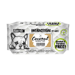 Absorb Plus Antibacterial Coconut Pet Wipes, 80 Sheets.Happy Hoomans