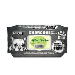 Absorb Plus Charcoal Aloe Vera Pet Wipes, 80 Sheets.Happy Hoomans