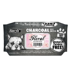 Absorb Plus Charcoal Floral Pet Wipes, 80 Sheets.Happy Hoomans