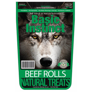Basic Instinct Beef Rolls Air-Dried Natural Dog Treats, 200g.Happy Hoomans
