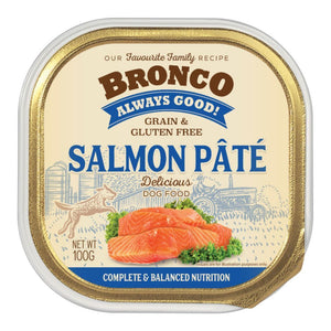 Bronco Salmon Pate Tray Dog Food, 100g.Happy Hoomans