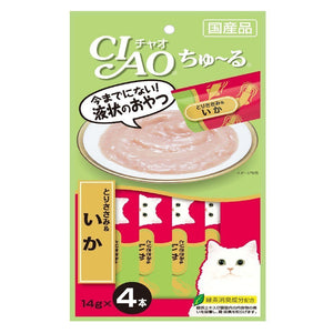 Ciao Churu Chicken Fillet & Squid Creamy Cat Treats, 14g x 4.Happy Hoomans