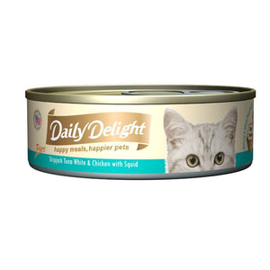 Daily Delight Pure Skipjack Tuna White & Chicken with Squid Canned Cat Food, 80g.Happy Hoomans