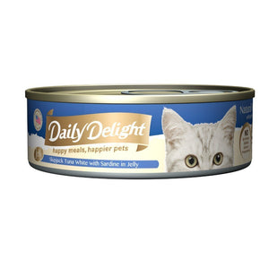 Daily Delight Skipjack Tuna White with Sardine in Jelly Canned Cat Food, 80g.Happy Hoomans