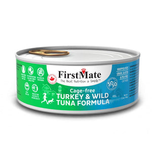 FirstMate Grain-Free Cage-Free Turkey & Wild Tuna (50/50) Formula Wet Cat Food, 156g - Happy Hoomans