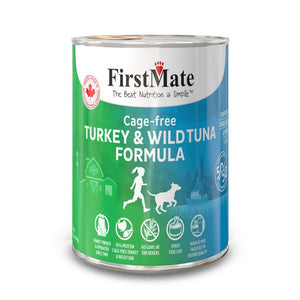 FirstMate Grain-Free Cage-Free Turkey & Wild Tuna (50/50) Formula Wet Dog Food, 345g - Happy Hoomans