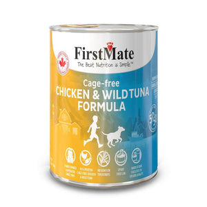 FirstMate Grain-Free Free Run Chicken & Wild Tuna (50/50) Formula Wet Dog Food, 345g - Happy Hoomans