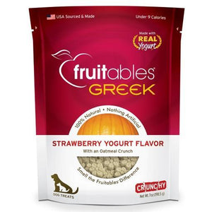 Fruitables Greek Strawberry Yogurt Crunchy Dog Treats, 7oz - Happy Hoomans