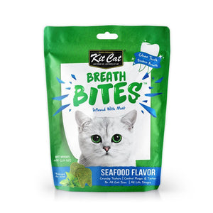 Kit Cat Breath Bites Seafood Flavour Cat Dental Treats, 60g - Happy Hoomans