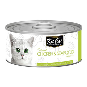 Kit Cat Deboned Chicken & Seafood Toppers Canned Cat Food, 80g - Happy Hoomans