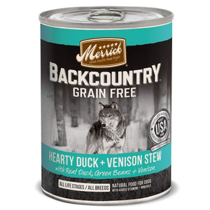 Merrick Backcountry Grain-Free Hearty Duck + Venison Stew Canned Dog Food, 360g - Happy Hoomans