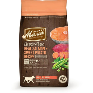 Merrick Grain-Free Real Salmon + Sweet Potato Recipe Dry Dog Food (3 Sizes) - Happy Hoomans