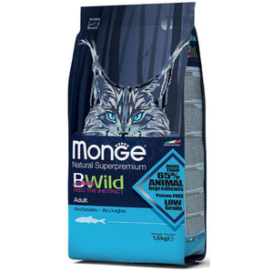 Monge BWild Adult with Anchovies Dry Cat Food, 1.5kg - Happy Hoomans