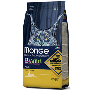 Monge BWild Adult with Wild Hare Dry Cat Food, 1.5kg - Happy Hoomans