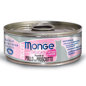 Monge Delicate Chicken With Ham Canned Cat Food, 80g - Happy Hoomans