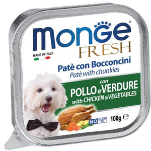 Monge Fresh Paté & Chunkies with Chicken & Vegetables Tray Dog Food, 100g - Happy Hoomans