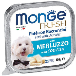 Monge Fresh Paté & Chunkies with Cod Fish Tray Dog Food, 100g - Happy Hoomans