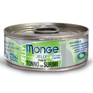 Monge Jelly Yellowfin Tuna With Surimi Canned Cat Food, 80g - Happy Hoomans