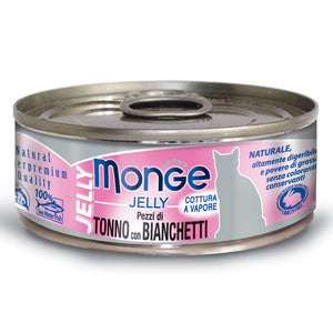 Monge Jelly Yellowfin Tuna With Whitebait Canned Cat Food, 80g - Happy Hoomans