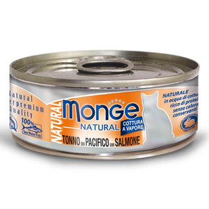 Monge Natural Yellowfin Tuna With Salmon Gluten-Free Canned Cat Food, 80g - Happy Hoomans