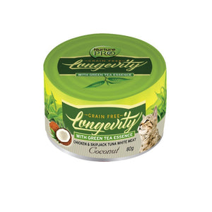 Nurture Pro Longevity Chicken & Skipjack Tuna White Meat with Coconut Grain-Free Canned Cat Food, 80g - Happy Hoomans