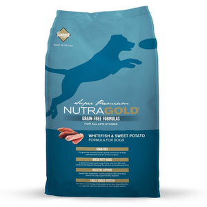 NutraGold Grain-Free Whitefish & Sweet Potato Dry Dog Food (2 Sizes) - Happy Hoomans