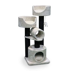 Pet Rebels Sweet Petite Cabin 125 Cat Tree - Fuzzy Cream - Happy Hoomans