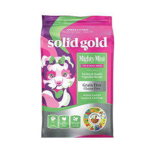 Solid Gold Might Mini Turkey & Hearty Vegetables Recipe Grain-Free Dry Dog Food, 1.8kg - Happy Hoomans