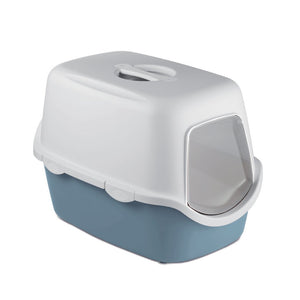 Stefanplast Cathy Filter Cat Litter Box - Steel Blue - Happy Hoomans