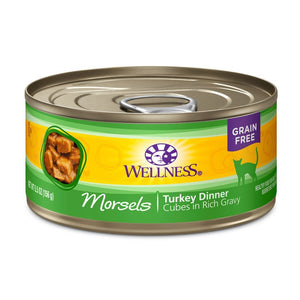 Wellness Complete Health Morsels Turkey Dinner Grain-Free Canned Cat Food, 5.5oz - Happy Hoomans