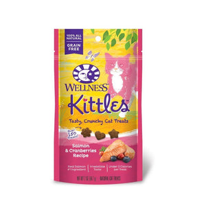 Wellness Kittles Salmon & Cranberries Grain-Free Crunchy Cat Treats, 2oz - Happy Hoomans