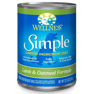 Wellness Simple Lamb & Oatmeal Recipe Canned Dog Food, 354g - Happy Hoomans