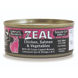 Zeal Chicken, Salmon & Vegetables Senior Grain-Free Wet Cat Food, 100g - Happy Hoomans