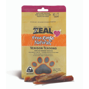 Zeal Free-Range Naturals Venison Tendons Air-Dried Dog Treats, 125g - Happy Hoomans