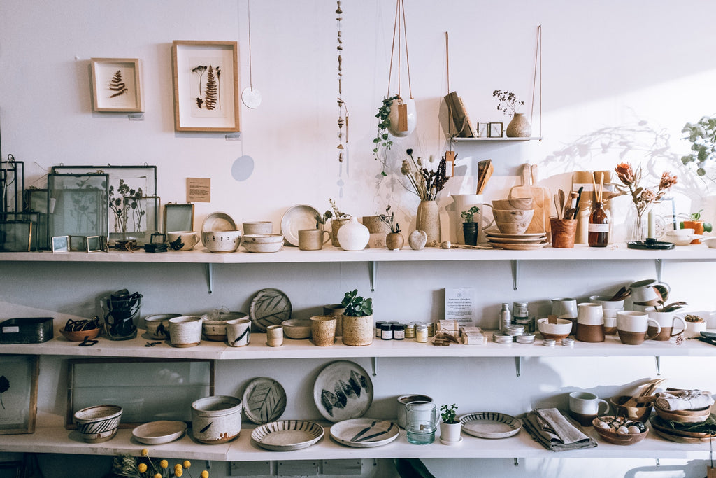 Exciting small business shelving with fashionable locally-made products