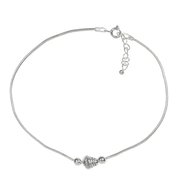 92.5 Silver Dome Anklet - By Unniyarcha - Original Manufacturers of Silver Jewelry, Gold Plated Jewellery, Fashion Jewellery and Personalized Soul Bands and Personalized Jewelry