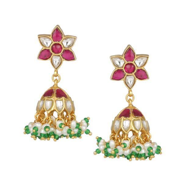 92.5 Silver Kundan Jhumka Earrings - By Unniyarcha - Original Manufacturers of Silver Jewelry, Gold Plated Jewellery, Fashion Jewellery and Personalized Soul Bands and Personalized Jewelry