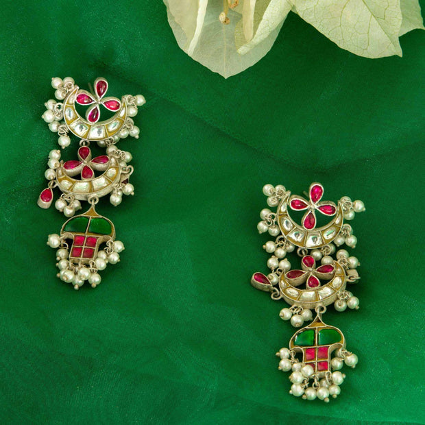 92.5 Silver Long Kundan Earrings - By Unniyarcha - Original Manufacturers of Silver Jewelry, Gold Plated Jewellery, Fashion Jewellery and Personalized Soul Bands and Personalized Jewelry