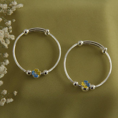 Blue Flower Silver Bangles Baby jewelry - By Unniyarcha - Original Manufacturers of Silver Jewelry, Gold Plated Jewellery, Fashion Jewellery and Personalized Soul Bands and Personalized Jewelry