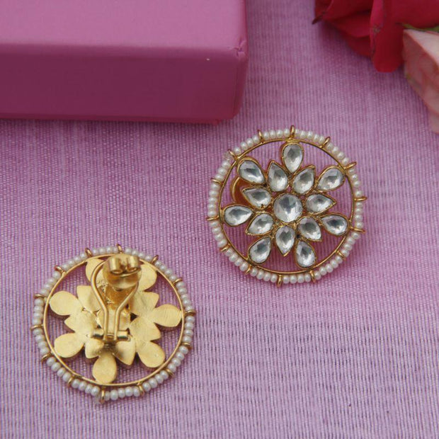Classic Silver Kundan Stud Earrings - By Unniyarcha - Original Manufacturers of Silver Jewelry, Gold Plated Jewellery, Fashion Jewellery and Personalized Soul Bands and Personalized Jewelry