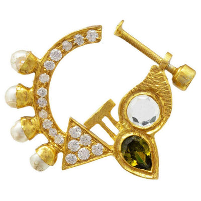 Classy Pearl And Silver Gold Plated Nose Pin - By Unniyarcha - Original Manufacturers of Silver Jewelry, Gold Plated Jewellery, Fashion Jewellery and Personalized Soul Bands and Personalized Jewelry