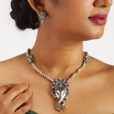 Divinity Ganesha Set Necklaces - By Unniyarcha - Original Manufacturers of Silver Jewelry, Gold Plated Jewellery, Fashion Jewellery and Personalized Soul Bands and Personalized Jewelry