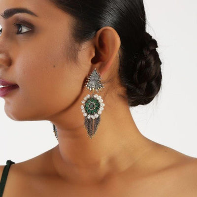 Divinity Green Earrings Earrings - By Unniyarcha - Original Manufacturers of Silver Jewelry, Gold Plated Jewellery, Fashion Jewellery and Personalized Soul Bands and Personalized Jewelry
