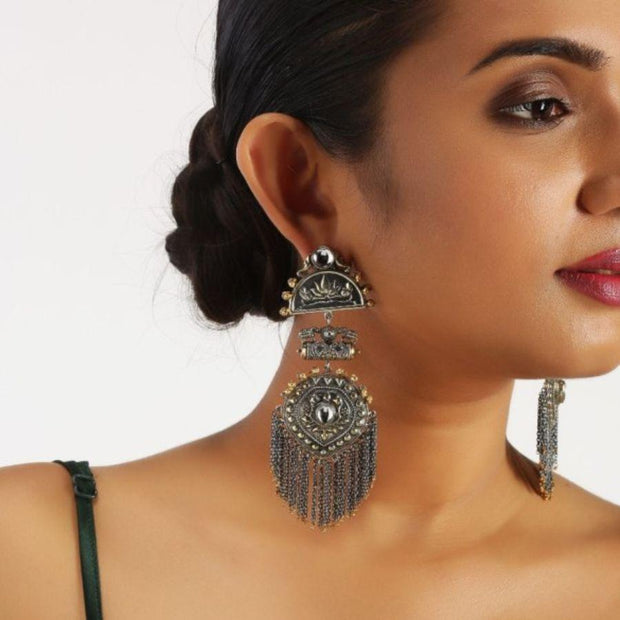 Divinity Silver Statement Earrings Earrings - By Unniyarcha - Original Manufacturers of Silver Jewelry, Gold Plated Jewellery, Fashion Jewellery and Personalized Soul Bands and Personalized Jewelry