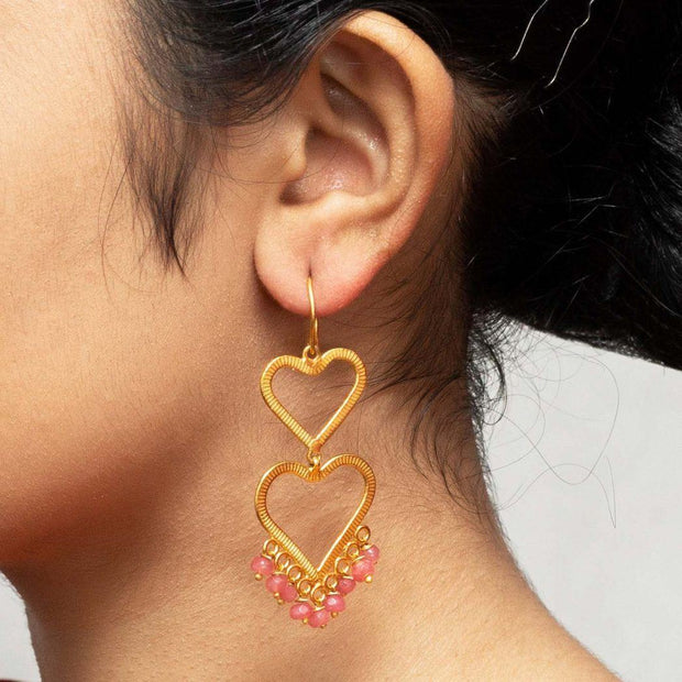 Double Heart Gold Plated Silver Earrings - By Unniyarcha - Original Manufacturers of Silver Jewelry, Gold Plated Jewellery, Fashion Jewellery and Personalized Soul Bands and Personalized Jewelry