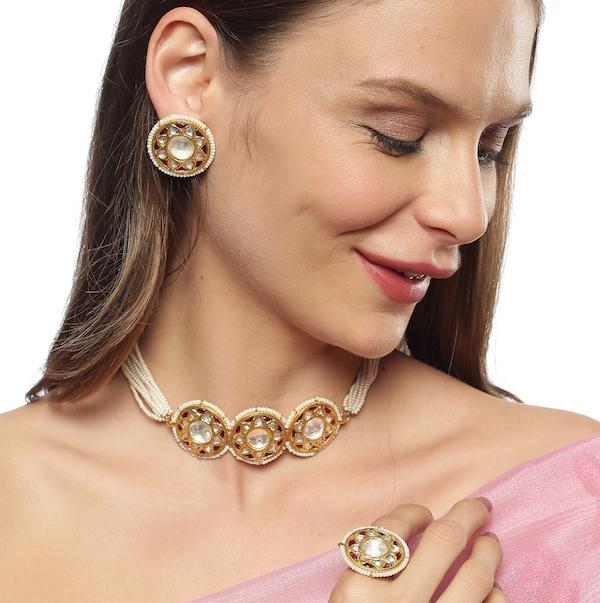 Elegant Kundan Choker Set Necklaces - By Unniyarcha - Original Manufacturers of Silver Jewelry, Gold Plated Jewellery, Fashion Jewellery and Personalized Soul Bands and Personalized Jewelry